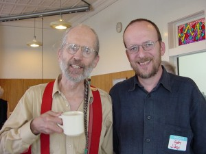 artist (on left) with hungarian scholar, gyorgy