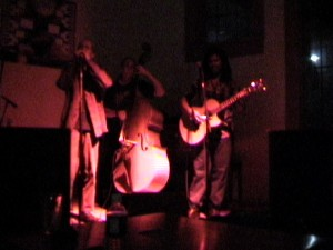 artist, on left, as harp player with opie, center, and sean